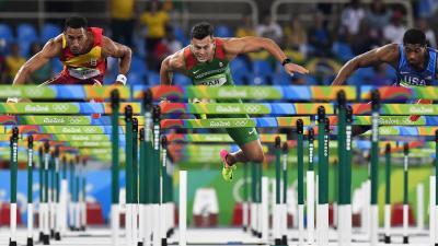Rio de Janeiro, 2016. augusztus 17. Baji Balázs a Rio de Janeiró-i nyári olimpiai férfi 110 méteres gátfutásának elõdöntõjében az Olimpiai Stadionban 2016. augusztus 16-án. MTI Fotó: Czeglédi Zsolt