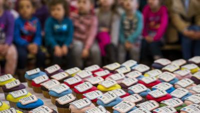 Nagyberény, 2017. március 2. Arany János verssoraival díszített sütemények a költõ születésének 200. évfordulója alkalmából rendezett ünnepségen a nagyberényi Dr. Faust Miklós Általános Iskolában 2017. március 2-án. MTI Fotó: Bodnár Boglárka