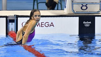 Rio de Janeiro, 2016. augusztus 13.Kapás Boglárka a célban a nõi 800 méteres gyorsúszás döntõjében a riói nyári olimpián a Rio de Janeiró-i Olimpiai Uszodában 2016. augusztus 12-én. A magyar úszónõ a harmadik helyen végzett.MTI Fotó: Illyés Tibor