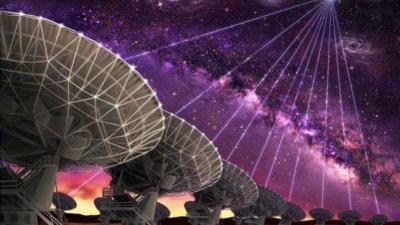 Fantáziarajz az FRB 121102 ismétlődő kitörésének megfigyeléséről az új-mexikói VLA rádiótávcső-hálózattal Forrás: Danielle Futselaar