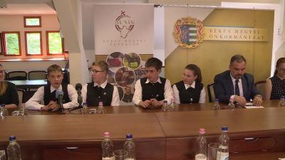 A gyulai Magvető Református Általános Iskola és Óvoda csapata a Kárpát-medencei döntőben hiba nélkül oldotta meg a feladatokat és első helyen végzett. Fotó: Kovács Dénes