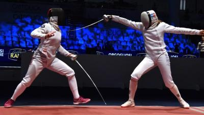 Dékány Kinga (jobbra) ezúttal nem tudott a legjobbak közé kerülni (Fotó: hunfencing.hu)