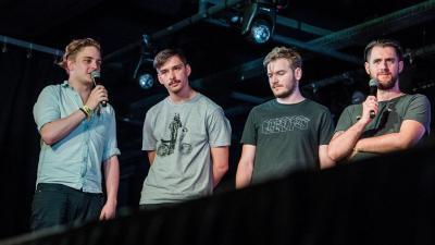 Az AWS: Siklósi Örs énekes, Schiszler Soma basszusgitáros, Veress Áron dobos és Brucker Bence gitáros (MTI fotó: Balogh Zoltán)