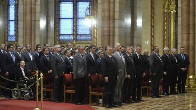 A listás mandátumot nyert képviselők megbízólevelének ünnepélyes átadása az Országházban (MTI fotó: Kovács Attila)