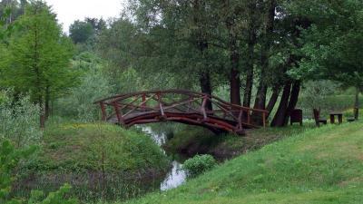 A miocénkori erdő maradványait bemutató tanösvény patakon átvezetõ ácsolt hídja az Ipolytarnóci Ősmaradványok Természetvédelmi Területen Fotó forrás: sokszinuvidek.24.hu / MTI