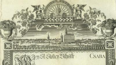 Békéscsaba stilizált látképe a 19. században - Haan Lajos rajza (forrás: wikipedia.hu)