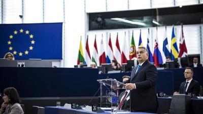 Strasbourg, 2018. szeptember 11. Orbán Viktor miniszterelnök felszólal az Európai Parlament vitáján (MTI Fotó: Miniszterelnöki Sajtóiroda / Szecsõdi Balázs)
