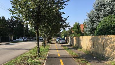 A Pataky László utcán megépült az önálló kerékpárút (fotó: Szendi Rita)