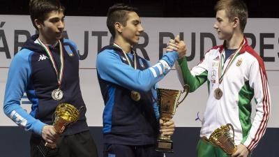 Keszthelyi Zsombort (jobbra) csak két olasz versenyző előzte meg a fővárosban (Fotó: hunfencing.hu)