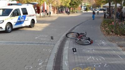 Kerékpáros baleset Gyulán, 2018.11.13-án. Fotó: police.hu