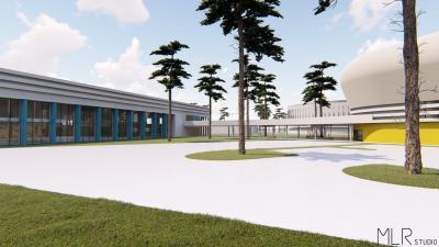 A tervek szerint így néz majd ki a régi és az új spottcsarnok az uszodával - a kép jobb oldalán levő nyíllal lapozhat a galériában (az MLR Stúdio Kft. látványtervei)