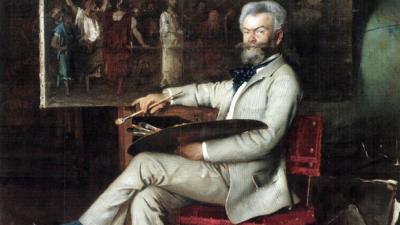 Hans Temple: Munkácsy Mihály portréja -részlet (A Mester a Krisztus Pilátus előtt című festményén dolgozik, 1887)