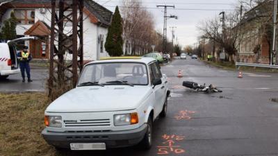 Orosházán, a Dózsa utcában történt baleset. Fotó: police.hu