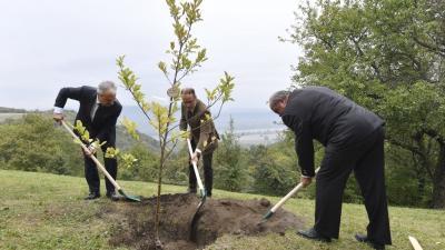 Nagy István Kismaroson ültetett fát. Fotó: MTI