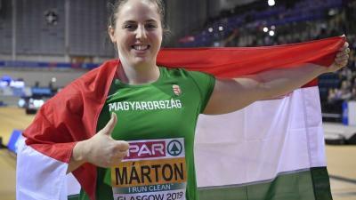 A bronzérmes Márton Anita a nõi súlylökés döntõje után a glasgow-i fedettpályás atlétikai Európa-bajnokságon az Emirates Arénában 2019. március 3-án. MTI/Czeglédi Zsolt