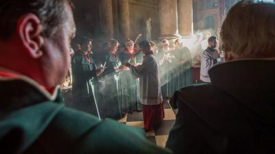 Húsvéti vigília a Szent István-bazilikában 2019. április 20-án. MTI/Balogh Zoltán