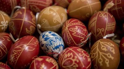 Hímes tojások a zengõvárkonyi Míves tojás múzeumban 2019. április 16-án. MTI/Sóki Tamás