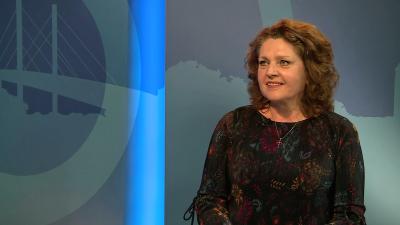 Kovács Edit színművész a 7.TV Aktuális című műsorában beszélt kitüntetéséről, munkájáról 2019. 04.04.-én. Fotó: 7.TV