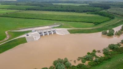 A Fekete-Körös - Ant - Mályvádi árvízi szükségtározó felső megnyitási helye. Fotó: Körös-vidéki Vízügyi Igazgatóság