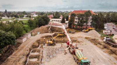 Drónfelvétel a Békéscsabai Röplabda Akadémia munkacsarnokáról június 6-án. Fotó: brse.hu