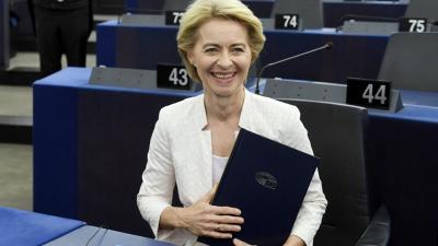 Az Európai Bizottság elnökének megválasztott Ursula von der Leyen német kereszténydemokrata politikus az Európai Parlament (EP) plenáris ülésén Strasbourgban 2019. július 16-ánFORRÁS: MTI/KOSZTICSÁK SZILÁRD