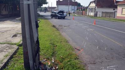 Baleset Békéscsabán, a Berényi úton 2019.07.14-én. Fotó: police.hu