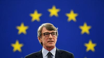Az olasz szociáldemokrata David-Maria Sassoli, az Európai Parlament újonnan megválasztott elnöke (Fotó: MTI/EPA/Patrick Seeger)