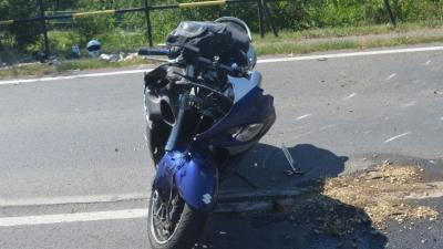 Motoros baleset Békéscsaba külterületén, 2019.08.20.-án. Fotó: police.hu