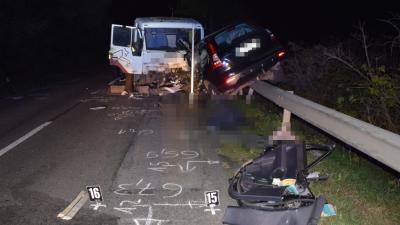Halálos baleset történt Kaszaper és Mezőkovácsháza között (Fotó: police.hu)