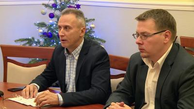 Opauszki Zoltán és Paláncz György tanácsnokok a Fidesz-KDNP közgyűlést értékelő sajtótájékoztatóján 2019.12.20.-án. Fotó: 7.TV/Kugyelka Attila