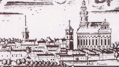 Békéscsaba látképe 1827-ből, a katolikus templommal (Karacs Ferenc rézmetszete a csizmadia céh mesterlevelén) Forrás: csabaihazak.blog_hu