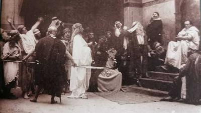 Fotótanulmány Munkácsy Krisztus Pilátus előtt című képéhez (eredeti: Munkácsy Mihály Múzeum)