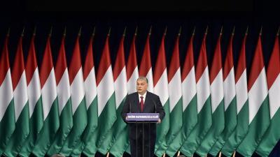 Budapest, 2020. február 16. Orbán Viktor miniszterelnök hagyományos évértékelő beszédét tartja a Várkert Bazárban 2020. február 16-án. MTI/Szigetváry Zsolt