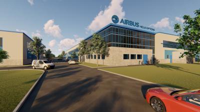 Az Airbus új, gyulai gyárának látványterve. Forrás: Facebook