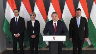 Orbán Viktor miniszterelnök bejelenti az öt programból álló gazdaságvédelmi akciótervet Fotó: behir.hu