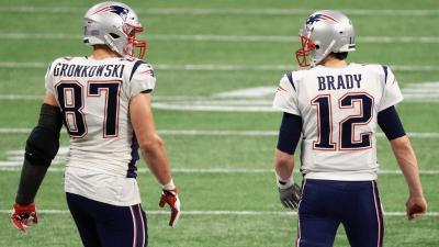Gronkowski és Brady 2019. február 3-án – Mike Ehrmann/Getty Images/AFP