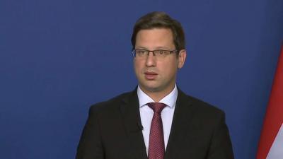 Gulyás Gergely Miniszterelnökséget vezető miniszter a 2020.05.14.-i kormányinfón. Fotó: MTI