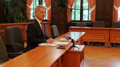 Szarvas Péter sajtótájékoztatója 2020.05.26.-án. Fotó: behir.hu/Hidvégi Dávid