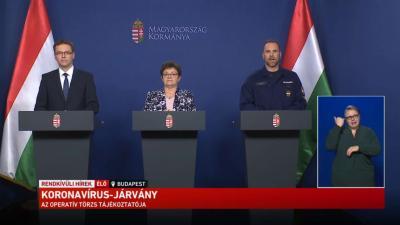 Az operatív törzs sajtótájékoztatója 2020.05.22-én. Forrás: kormany.hu