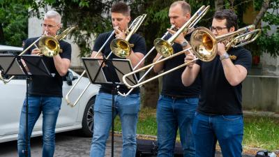 A Szeged Trombone Ensemble békéscsabai fellépése. Fotó: behir.hu/Máthé Csongor