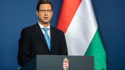 Gulyás Gergely Miniszterelnökséget vezető miniszter a 2020.05.07.-i kormányinfón. Fotó: MTI