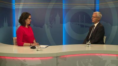 Kugyelka-Zámbori Eszter beszélgetett Soltész Miklós államtitkárral a 7.TV Aktuális című műsorában. Fotó: 7.TV