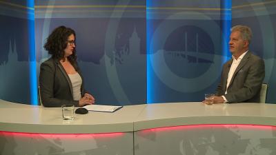 Kugyelka-Zámbori Eszter beszélgetett Szarvas Péterrel, Békéscsaba polgármesterével a 7.TV Aktuális című műsorában 2020.05.14.-én. Fotó: 7.TV