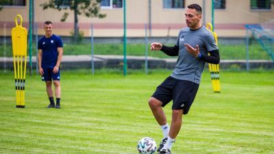 Boér Gábor a Kazincbarcika hétfői edzésén – (Fotó: Kazincbarcikai SC)