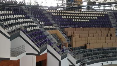 A Városi Sportcsarnok lelátója jelenleg – (Fotó: Békéscsabai Előre NKSE/Facebook)