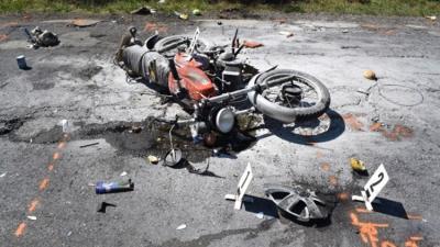 A motoros férfit súlyos sérüléssel vitték kórházba (Fotó: police.hu)