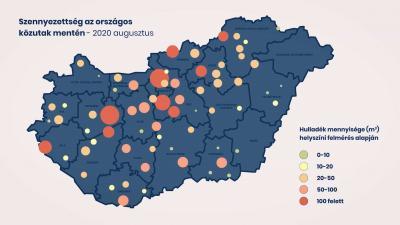 Szennyezettség az országos közutak mentén. Forrás: Magyar Közút