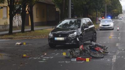 Baleset Békéscsabán, a Bartók Béla út és a Tulipán utca kereszteződésében Fotó: police.hu