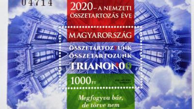Trianon 100 - Bélyegblokkot bocsátott ki a Magyar Posta az évfordulóra. Fotó: MTI