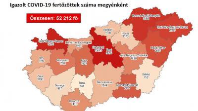 Koronavírus térkép 2020.10.22.-én. Fotó: koronavirus.gov.hu
